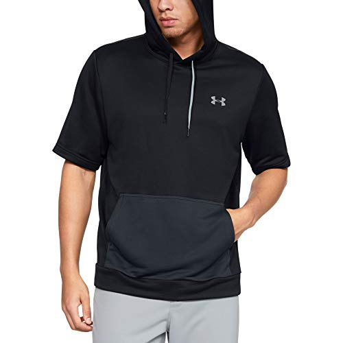 Under Armour Men's Utility Short-sleeve Cage Hoodie, Black (001)/Steel, Small