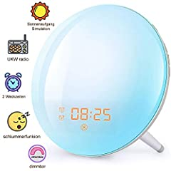 Wake Up Light Alarm Sunrise Sunset Simulation FM Radio Wekker voor volwassenen & kinderen*