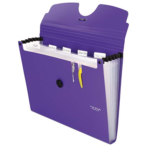 Five Star 6-Pocket Expanding File Organizer, Plastic Expandable Letter Size File Folders with Pockets, Home Office Supplies, Portable Paper Organizer for Receipts, Bills, Documents, Purple (72510) Photo #5