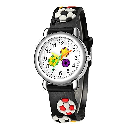 CXJC Reloj Deportivo Lindo para Hombres y Mujeres, Reloj de Estudiante de fútbol en Relieve 3D, Reloj de Cuarzo Impermeable (Color : Si)