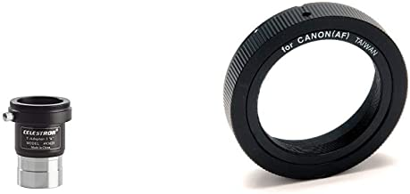 Celestron 93625 Universal 1.25-inch Camera T-Adapter & 93419 T-Ring for 35 mm Canon EOS Camera (Black)