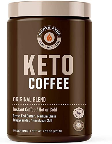 Rapidfire Ketogenic High Performance Instant Coffee Mix, Supports Energy and Metabolism, 15 Servings, brown, 7.93 ounce (pack of 1)
