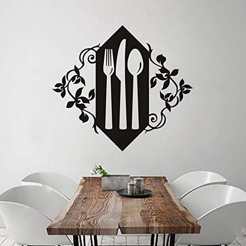 Vajilla de cocina Folk Vinyl Cuchillo y cuchara Pegatinas de pared Papel tapiz Art Deco Western Restaurant Cafe Wall Decal 57X64Cm