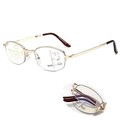 Gafas de Lectura Zoom Smart Zoom Doble Plegable Portátil Anti-Blue Light Men and Women Presbyopia Glasses -6 Diopters Pink Frame- + 1.5 (Color : Gold Frame, Size : +3.0)