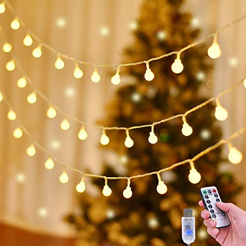 100 LED Globe Fairy String Lights USB Plug in ,Warm White 10M/33ft Christmas Tree String Light 8 Modes Waterproof with Remote & Timer for Indoor Outdoor