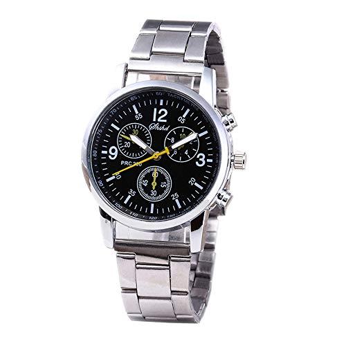 Mingfa Armbanduhr, 3 Augen, modisch, Unisex, Edelstahl, Zifferblatt, Quarz, Analog, Stahlband Gr. Einheitsgröße, Schwarz