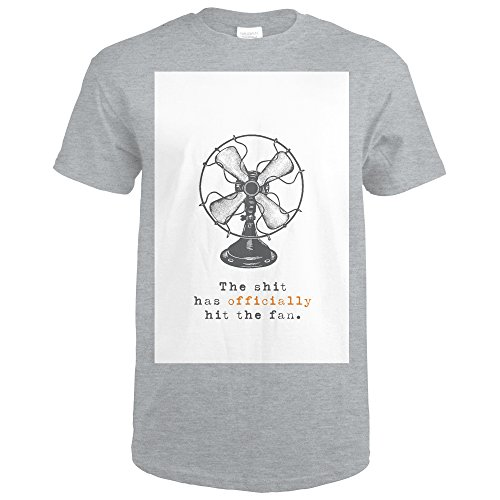 Lantern Press The Shit Has Officially Hit The Fan - Breathless Paper CO. Artwork (Sport Grey T-Shirt XX-Large)
