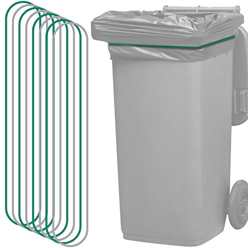 8 Pieces Trash Can Bag Bands Elastic Rubber Bands Kitchen Garbage Bag Bands Fits 95-96 Gallon Trash Cans, Quickly and Easily Secure Garbage Can Liner to Waste Basket