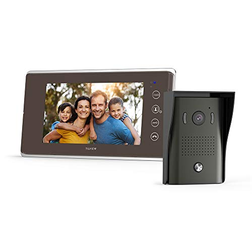 TILVIEW Video Door Phone Doorbell Kit Wired Video Intercom System Waterproof IP44 with Night Vision Camera and LCD Monitor, 16 Chimes and SD Card Storage (1 Camera + 1 Monitor)