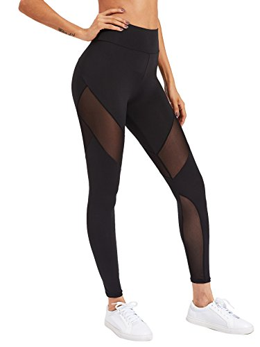 SweatyRocks Women's Stretchy Skinny Sheer Mesh Insert Workout Leggings Yoga Tights Black L