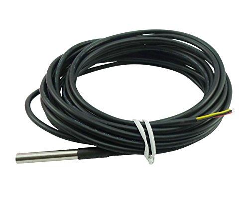 Aihasd 5M Temperaturfühler Kabel DS18B20 Kabelfühler Digital Thermometer Probe Sensor Wasserdicht Edelstahl