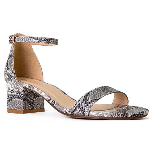 RF ROOM OF FASHION Open Toe Ankle Strap Sandal - Trendy Kitten Heel Shoe - Low Block Formal Heel - Cute Low Sandal - Faux Leather Vegan Snake Size (7.5)