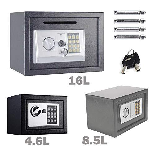 Tresor mit zahlenschloss Digital PIN-Code und Schlüssel Elektronischer Safe Sicherheitskasten Doppelbolzenverriegelung Wandtresor Möbeltresor -16L (Grau)