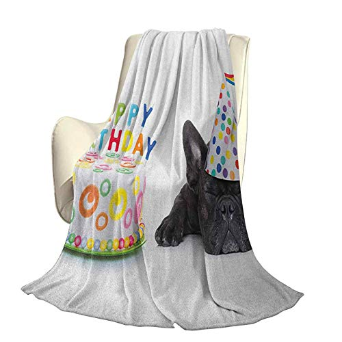 SUZM Kids Birthday Fluffy Plush Soft Comfortable Warm blanketSleepy French Bulldog Party Cake with Candles Cone Hat Celebration Image Luxury air-Conditioning Duvet Cover W60 x L50 Inch Multicolor