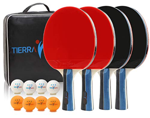 Find Cheap Ping Pong Paddles Set of 4 by Tierra Sports - Table Tennis Players Kit Includes Premium 7...