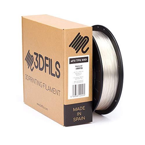 3DFILS - Filamento flessibile per stampa 3D eFil TPU 60D, 1.75 mm / 1 Kg, naturale, 1