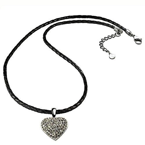 Geflochtene Halskette Mit Anhänger - Glitzerherz - Schwarz