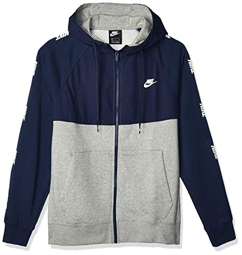 Nike Herren NSW BB Hybrid Full Zip Hoodie, Midnight Navy/Dk Grey Heather, M