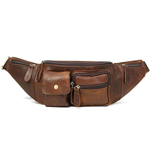 Zzyff Multi-functional Leather Men's Bag Sports And Leisure Outdoor Mobile Phone Pockets Retro Men's Chest Bag Wear-resistant