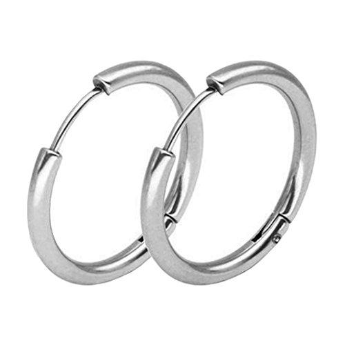 display08- Orecchini a cerchio in acciaio INOX, stile punk - unisex, 1paio e Lega, colore: Silver 2.5mm x 16mm, cod. 20905
