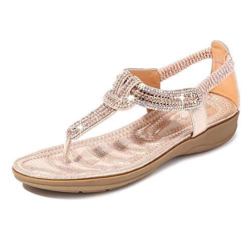 QLIGHA Sandalias de Verano con Cuentas de Diamantes de imitación en Forma de T Zapatos de Punta Abierta Sandalias de cuña de Playa con Punta de Clip para Adultos