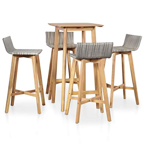 Festnight Ensemble Table de Bar + 4 chaises de Bar Ensemble de Bar d'extérieur Salon de Jardin en résine tressée Bar de Jardin Table Haute Cuisine
