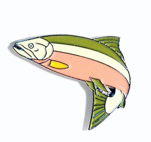 Metall Emaille Brosche Angeln Fisch Lachs