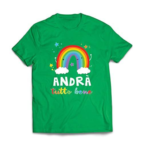 lepni.me Mannen T-shirt Andrà Tutto Bene Regenboog Van Hoop Quarantaine en Relaxen
