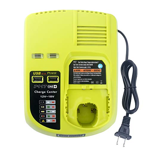 Elefly Dual Chemistry Replacement Charger for Ryobi P117 Charger ONE+ P118 P119, Charges Ryobi 12V 14.4V 18V Lithium-Ion NiCd NiMh Battery P100 P101 P102 P103 P105 P107 P108 with 2 USB Port