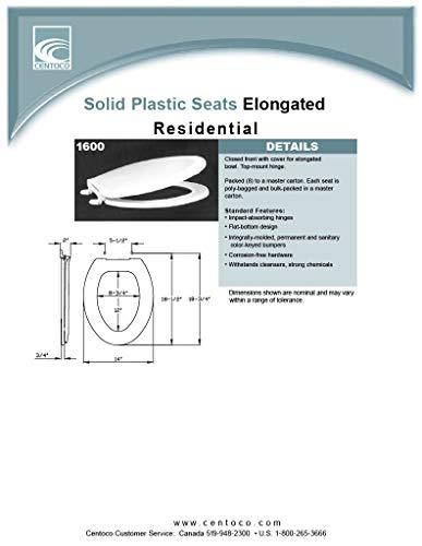 Centoco 1600-001 Elongated Plastic Toilet Seat, Standard Economy Model, White