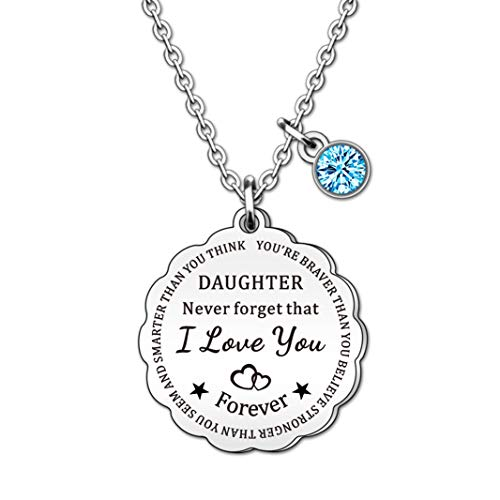 HULALA Charm Daughter Necklace Jewellery From Mum Dad Never Forget I Love You Forever