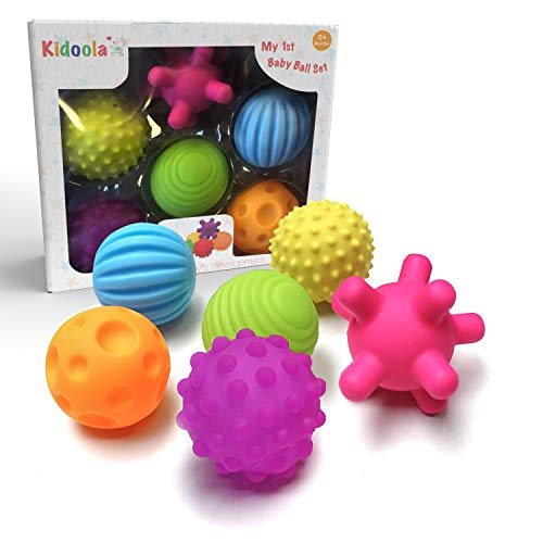Sensory Ball Toys- Kidoola Baby & Toddler Multi-Ball Bath Toy - Textured Ball Variety Set Promotes Sensory Engagement & Development, Suitable for Teething Kids (Ages 0+)