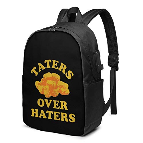 Lsjuee Taters Over Haters Travel Laptop Backpack with USB Charging Port for Women Men School College Students Backpack Fits 17 Inch Laptop