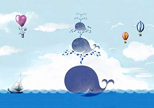 wandmotiv24 Fototapete Kinderzimmer Himmel Wale Wolken Meer, XXL 400 x 280 cm - 8 Teile, Fototapeten, Wandbild, Motivtapeten, Vlies-Tapeten, Aquarell Meerestiere Heißluftballons Schiff M5816