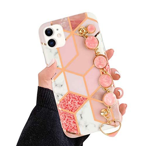 AQUYY Funda para iPhone X/iPhone XS, Carcasa de TPU Suave para iPhone X/XS con Cadena de Muñeca de Diamantes de Imitación, Elegante Funda Protectora Antigolpe con Patrón de Mármol para Mujeres, Pink2