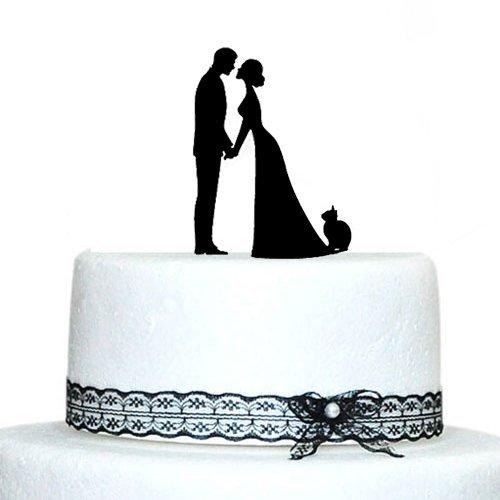 Custom Wedding Cake Toppers novia beso novio con gato de silueta de boda decoración para tarta para boda regalo