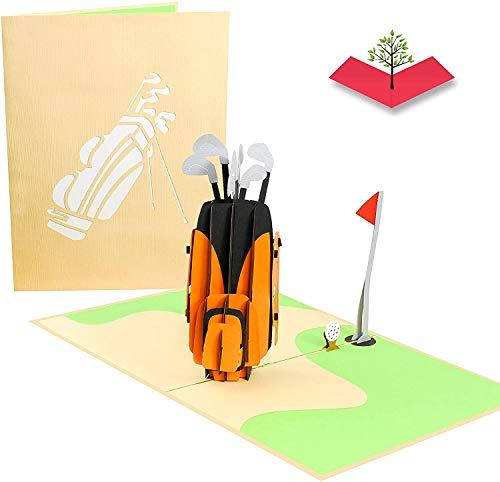 PopLife Cards Club de golf y tarjeta emergente pop-in-one día de padre para todas las ocasiones día del padre, feliz cumpleaños, retiro, sobre la tarjeta de la colina para golfistas, regalo de golf