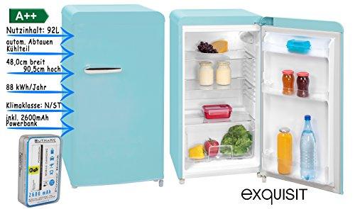 Retro Kühlschrank Vollraum | Kühlschrank Ohne Gefrierfach | 92 Liter Nutzinhalt | LED Innenbeleuchtung | Schicker Retro Türgriff | Blau | Powerbank 2600 mAh im Lieferumfang enthalten