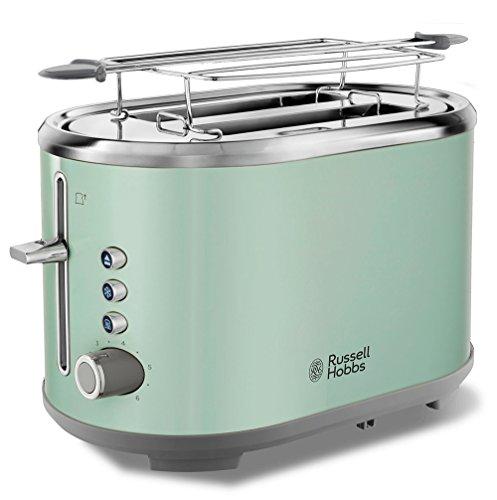 Russell Hobbs Toaster Bubble grün, 2 extra breite Toastschlitze, inkl. Brötchenaufsatz, 6 einstellbare Bräunungsstufen + Auftau- & Aufwärmfunktion, Schnell-Toast-Technologie, 930W, Retro 25080-56