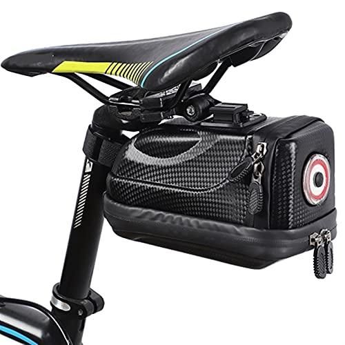 Bolsa Para SillíN De Bicicleta Bolso de la silla de montar a prueba de agua con la luz de la cola Bolsas de bicicleta de ciclismo de la bicicleta de carbón de carbón de la carcasa duradera de la bicic