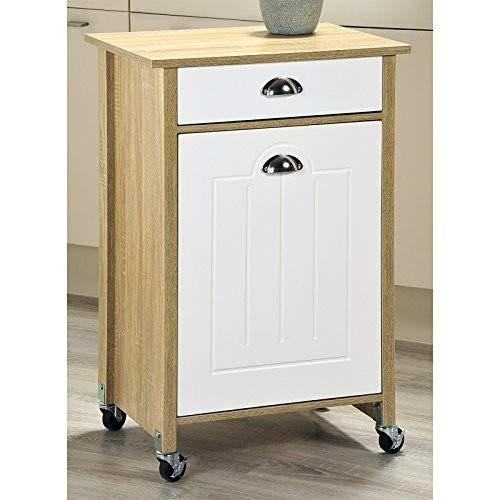 Kesper Küchenwagen mit Mülltonne, Holz, Weiß/Beige, 50x 37x 78,5cm