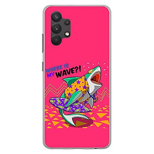 Coque transparente pour [Samsung Galaxy A32 4G ], Coque en silicone souple TPU motif : Tiburon surfeur, Donde esta mi Ola