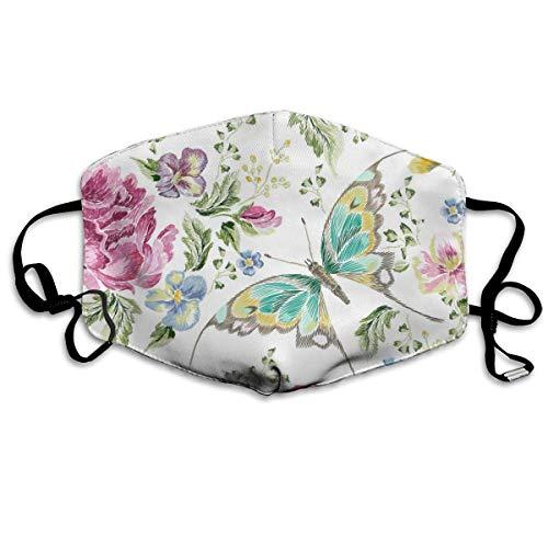 Stickerei Trend Blumen mit Rosen Veilchen und Schmetterlingen Mundschutz Gesichtsschutz Baumwolle Winddicht Anti Wiederverwendbar Komfortable Atmungsaktive Sturmhaube