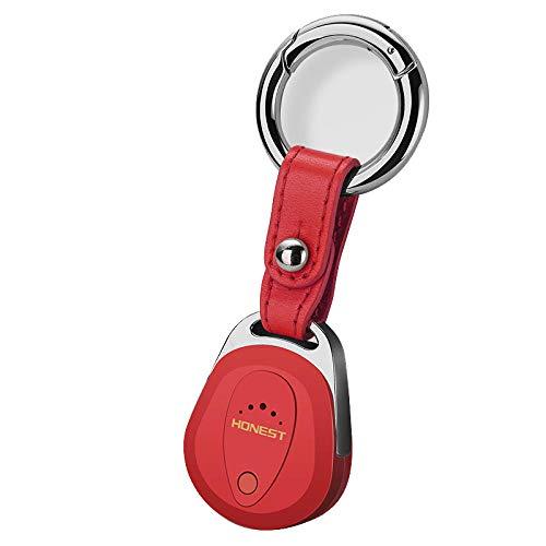 Buscador de Llaves Inalámbrico,Buscador de llaves de coche Localizador de alarma,dispositivo inteligente Bluetooth anti-pérdida,alarma bidireccional,regalo de cumpleaños y Navidad para novio-rojo