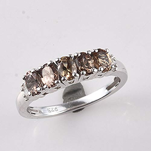 TJC Five Stone Change Colour Garnet Ring for Women Platinum Plated 925 Sterling Silver White Diamond Size O, 2.01 Ct