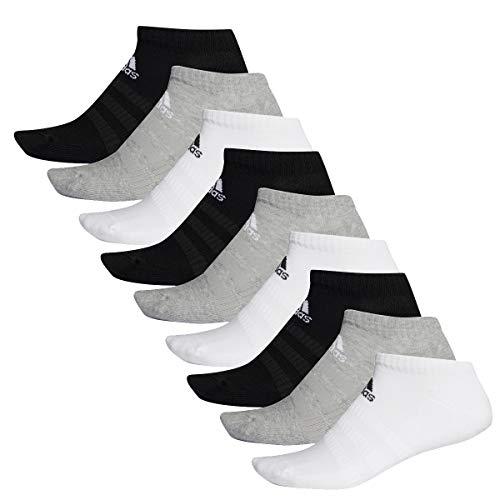 adidas 9 Paar Performance No Show Sneaker Socken Unisex Kurzsocke, Farbe:schwarz - weiß - grau, Socken & Strümpfe:40-42