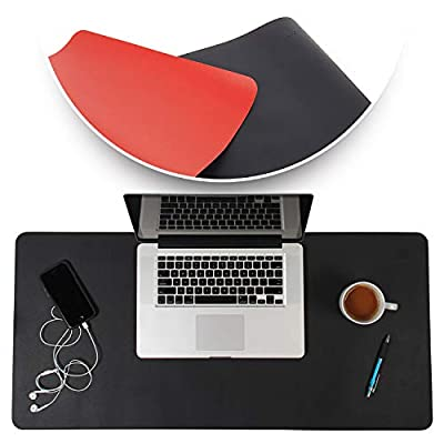 Desk Mat Black & Red 17x36 - Computer, Laptop, Keyboard & Mouse Pad Organizer - Leather Cover Office Table Protector - Double Side Gaming Surface with Colors - Typing & Writing Accessories
