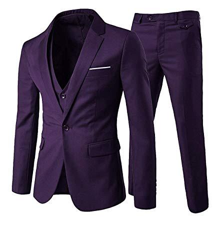 YOUTHUP Abiti Completi da Uomo Elegante 3 Pezzi Abito Slim Fit Blazer Gilet Pantaloni (Viola, Large)
