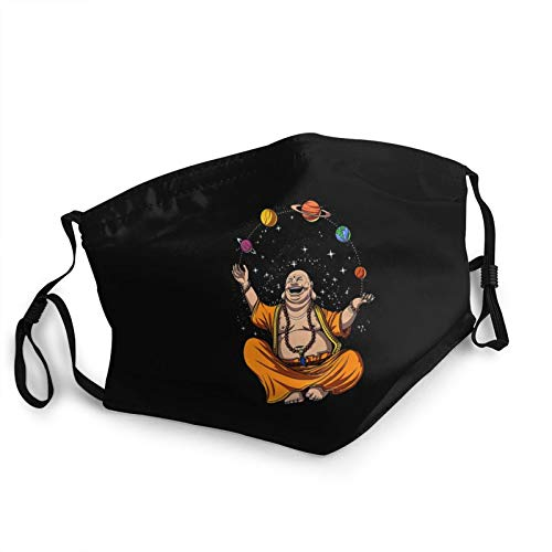 Reusable Fashion Face Mask Zen Yoga Buddha Juggling Space Planets Meditation Dust-Proof Bandanas,Made in USA Black