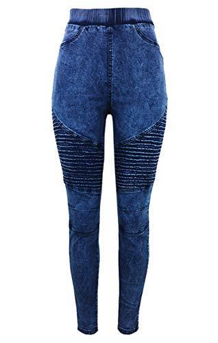 Andongnywell Women's Casual Boyfriend high Waist Front Tapered Jeans Crumple high Waisted and Buttock Denim Pants (Blue,Medium)